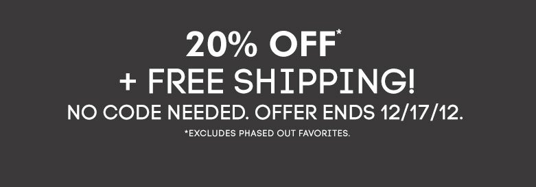 20% off and free shipping - shop now!