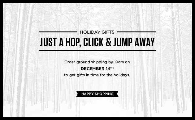Holiday Gifts just a hop, click & jump away. Order ground shipping by 10am on December 14th to get gifts in time for the holidays. Happy Shopping