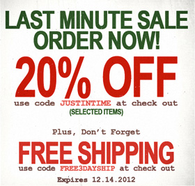Last minute sale order now.