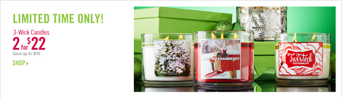 3-Wick Candles, 2 for $22
