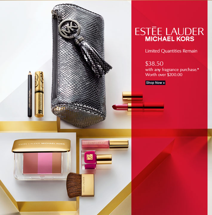 ESTÉE LAUDER  MICHAEL KORS  Limited Quantities Remain  $38.50 with any fragrance purchase* Worth over $200.00  Shop Now »