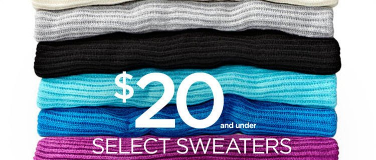 $20 and under select sweaters