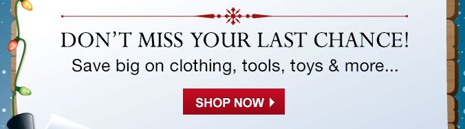 DON'T MISS YOUR LAST CHANCE! Save big on clothing, tools, toys & more... | SHOP NOW