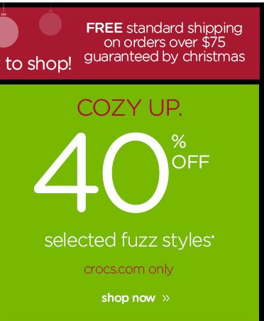 Cozy Up. 40% OFF selected fuzz styles* crocs.com only - shop now