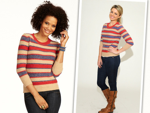 As soon as I saw this sweater, I had to have it. The fit is so flattering and the stripes are adorable!
