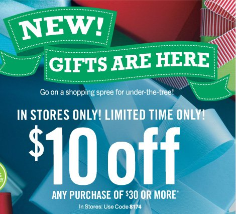 $10 off any purchase of $30 or more