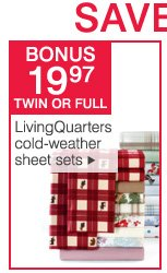 $19.97 twin or full LivingQuarters cold-weather sheet sets