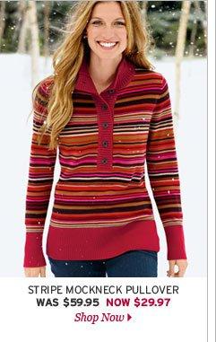 Stripe Mockneck Pullover