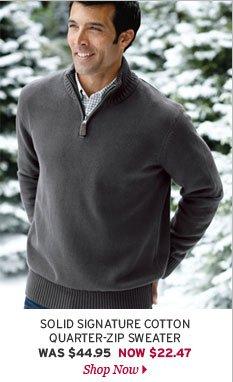 Solid Signature Cotton Quarter-Zip Sweater