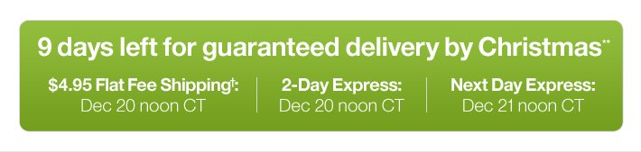 9 days left for guaranteed delivery by  Christmas**