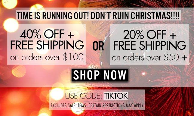 40% Off + Free Shipping: Use Code: TIKTOK