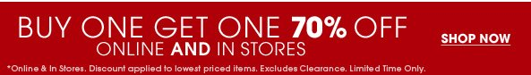 Buy one  Get One 70% Off - Shop Now
