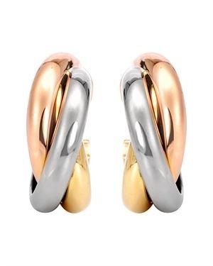 Cartier 18K Trinity Tri-Tone Clip-On Earrings