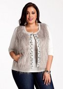 Faux Fur Jewel Embellished Sweater Vest