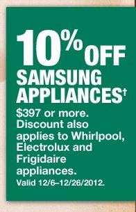 10% Off Samsung Appliances