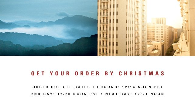 Get your order by Christmas!
