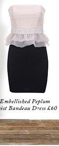 Embellished Peplum Waist Bandeau Dress
