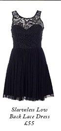 Sleeveless Low Back Lace Dress