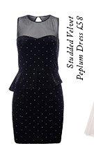 Studded Velvet Peplum Dress