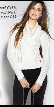 Pearl Cable Cowl Neck Jumper