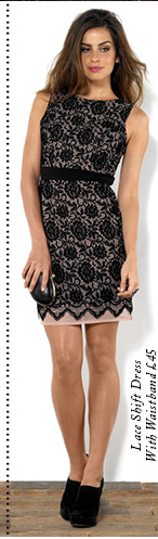 Lace Shift Dress With Waistband