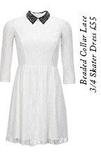 Beaded Collar Lace 3/4 Skater Dress