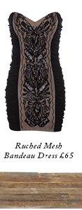 Ruched Mesh Bandeau Dress