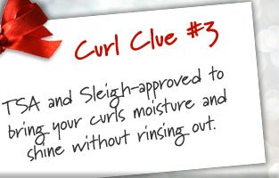 Curl Clue #3: TSA and Sleigh-approved to bring your curls moisture and shine without rinsing out.