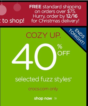 Ends Tonight! Cozy Up. 40% OFF selected fuzz styles* - crocs.com only - shop now