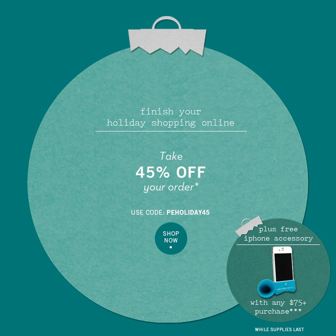 Unwrap Your Savings: Take 45% Off Your Holiday Shopping Online + Free Gift w/ Purchase