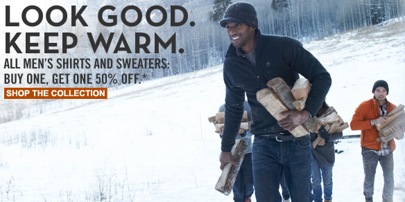 Look good. Keep warm. All men's shirts and sweaters: Buy one, get one 50% off.* Shop the collection