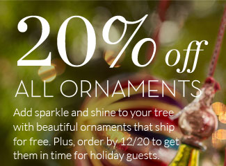 20% off ALL ORNAMENTS - Add sparkle and shine to your tree with beautiful ornaments that ship for free. Plus, order by 12/20 to get them in time for holiday guests.