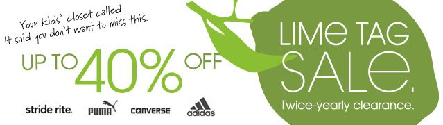 UP TO 40% OFF LIME TAG SALE. Twice-yearly clearance.