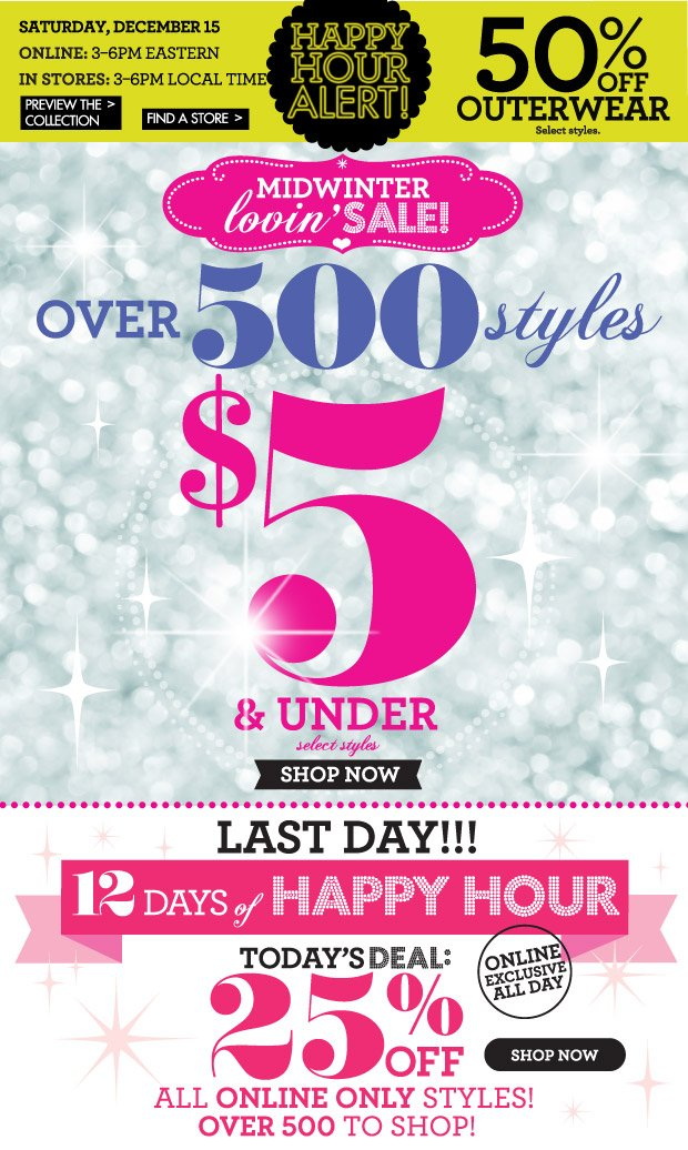 Midwinter Lovin' Sale!  Over 500 Styles $5 and under SHOP NOW Select Styles