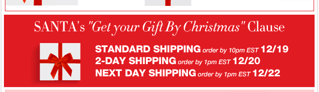 Place your order in time to receive your gifts by Christmas!