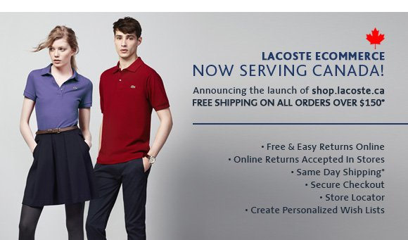LACOSTE ECOMMERCE NOW SERVING CANADA!