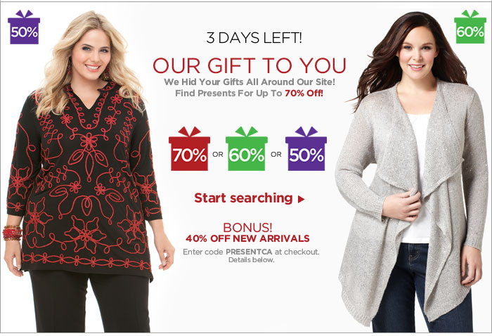 Our Gift To You! 50-70% Off Styles With A Present!