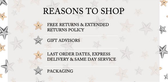 Reasons to shop