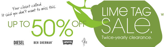UP TO 50% OFF LIME TAG SALE. Twice-yearly clearance.