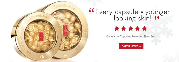 """""""Every capsule = younger looking skin!"""" Ceramide Capsules Face and Eyes Set. SHOP NOW."""