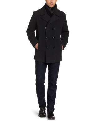 Kenneth Cole <br/>Plush Pea Coat With Scarf