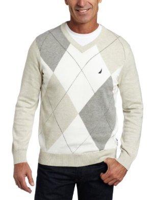 Nautica <br/>V-Neck Argyle Sweater