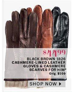 Black brown gloves & scarves for him