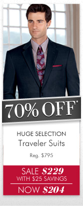 70% OFF* Traveler Suits
