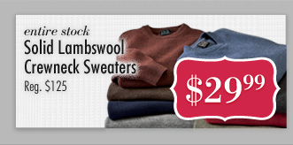Solid Lambswool Crewneck Sweaters