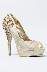 The Spiked Heel in Gold Glitter