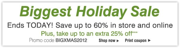 Biggest Holiday Sale Ends TODAY! Save up to 60% in store and online! Plus, take an extra 25% off*