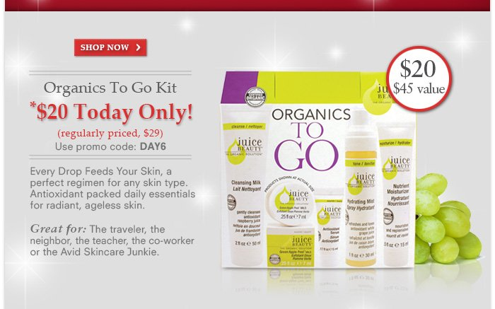 Organics To Go Kit $20 Today ONLY! Promo Code: DAY 6