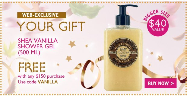 Shea Vanilla Shower Gel - yours Free with any $100 Purchase - Enter code VANILLA