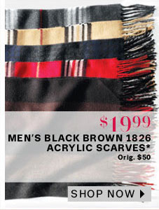Men's Black Brown 1826 Acrylic Scarves